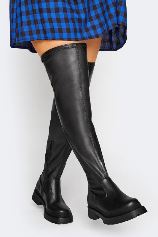 Großen Größen  LIMITED COLLECTION Black Over The Knee Cleated Boots In Extra Wide Fit
