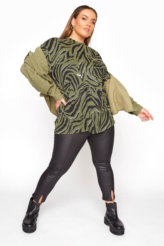 LIMITED COLLECTION Khaki Zebra Print Oversized Top