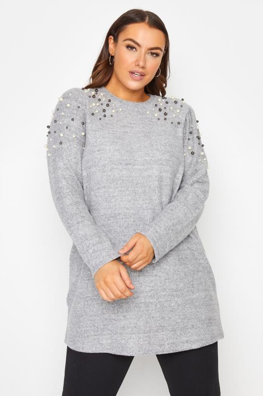 dla puszystych Grey Embellished Shoulder Knitted Jumper