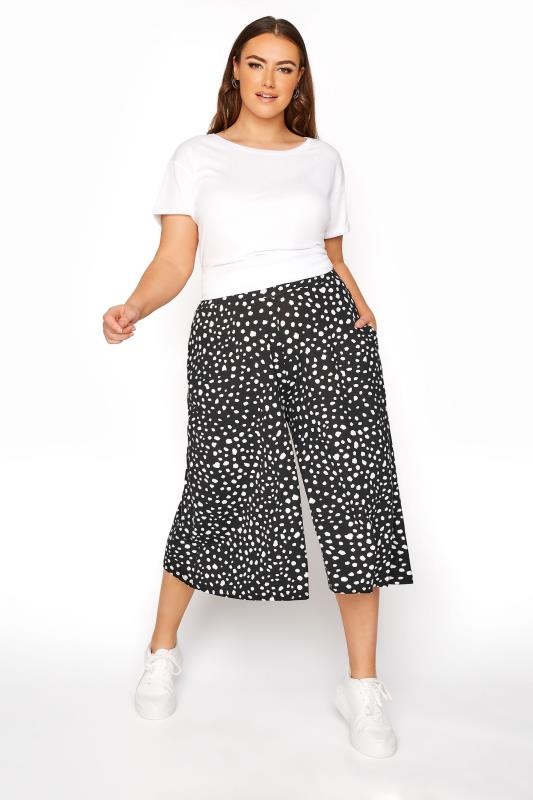 Plus Size  Black Animal Spot Print Culottes