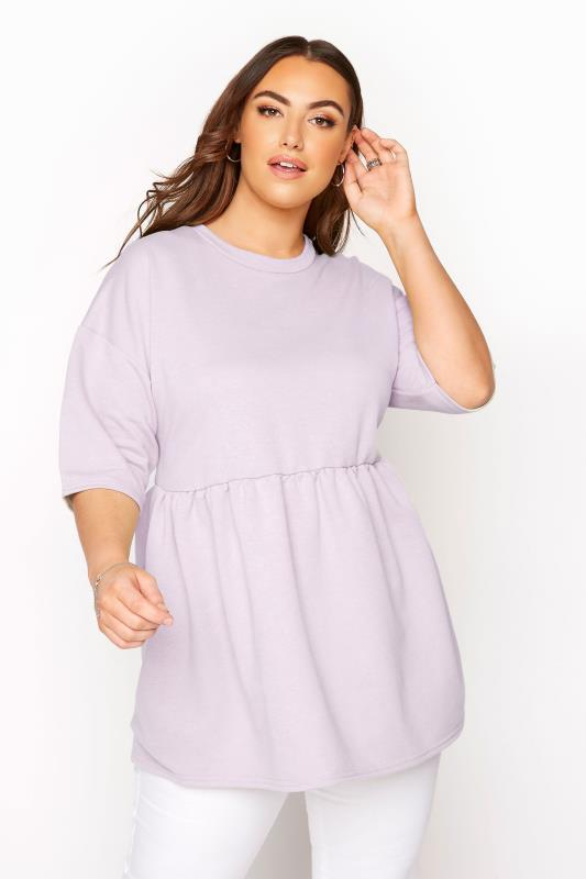 Plus Size  LIMITED COLLECTION Lilac Peplum Top