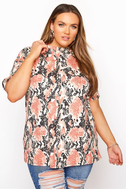 Tallas Grandes LIMITED COLLECTION Pink Snake Print Oversized Top