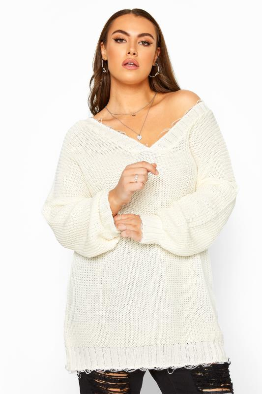 Plus Size Casual / Every Day White Distressed Oversized Knitted Jumper