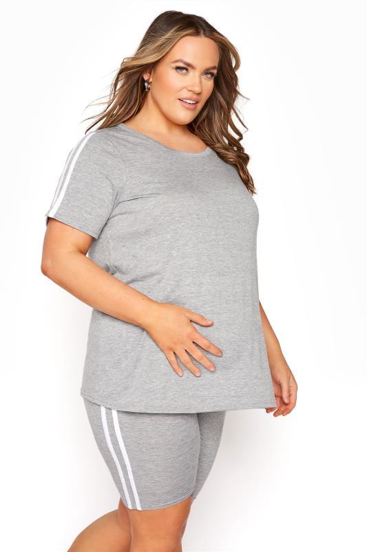 Großen Größen  BUMP IT UP MATERNITY Grey Stripe T-shirt & Shorts Set