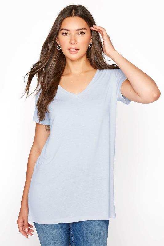 Tall  LTS Blue Linen Blend V-Neck T-Shirt
