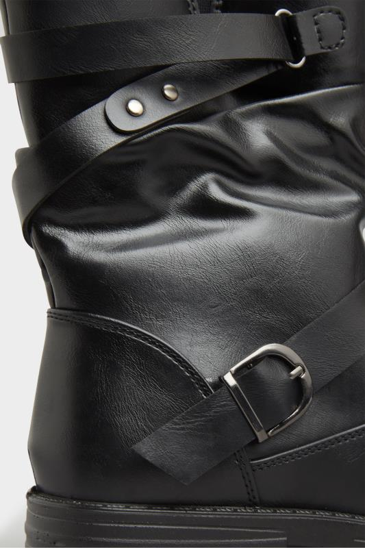 Black Vegan Faux Leather Buckle Detail Boots In Wide Fit_D.jpg