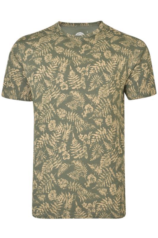 KAM Khaki Leaf Print T-Shirt