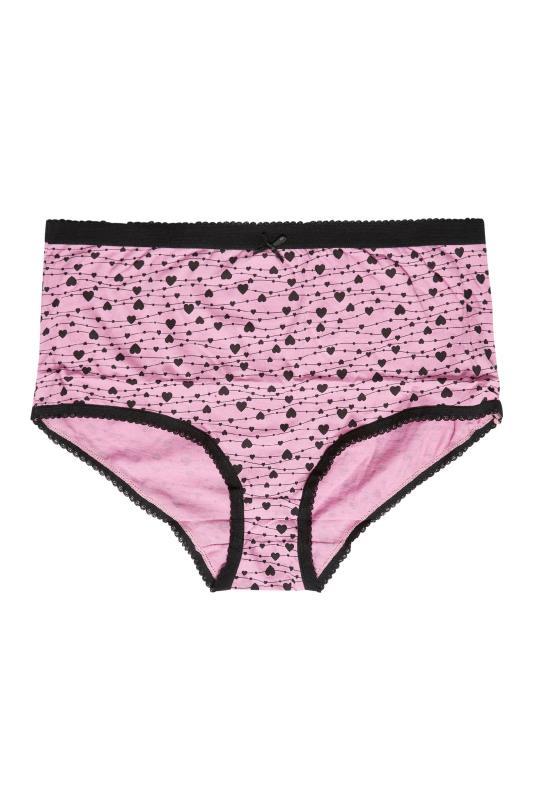 5 PACK Pink & Black Heart Print Full Briefs_E.jpg