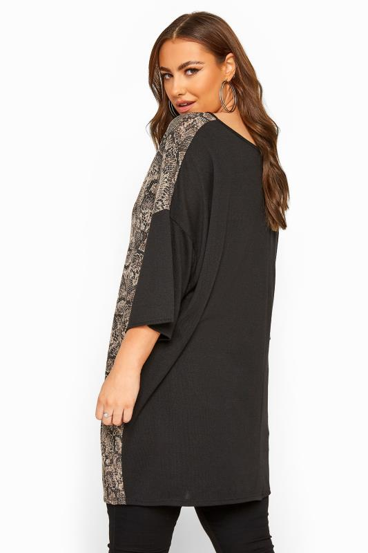 Black Snake Print Colour Block Knitted Top