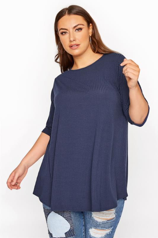 Plus Size  LIMITED COLLECTION Navy Ribbed Swing 3/4 Length Top