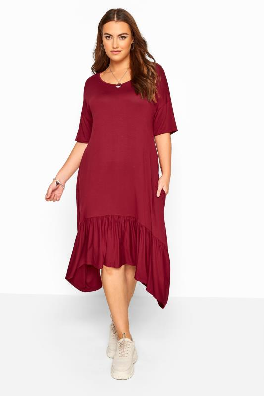 Plus Size Midi Dresses Burgundy Frill Hanky Hem Dress