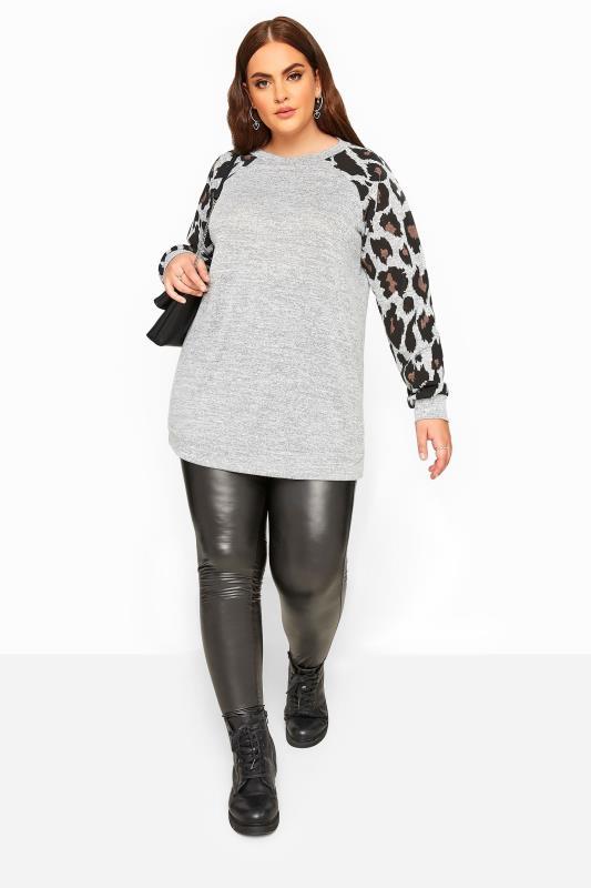 Grey Animal Print Raglan Sleeve Sweatshirt