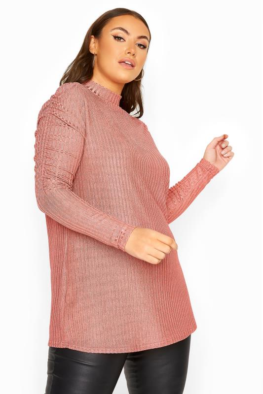 Plus Size  YOURS LONDON Pink Metallic Ruched Sleeve Ribbed Top