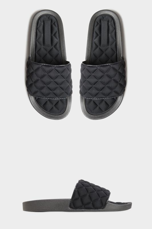 Black Quilted Slider In Wide Fit