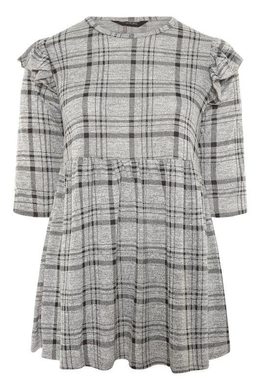 Grey Check Frill Knitted Peplum Top_F.jpg