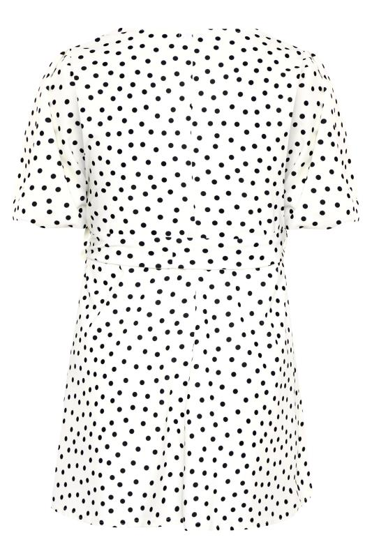 YOURS LONDON White Polka Dot Puff Sleeve Peplum Top_BK.jpg