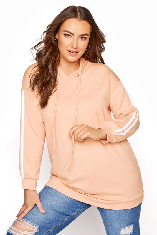 Plus Size  Blush Pink Double Tape Sleeve Hoodie