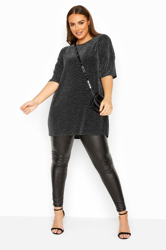 LIMITED COLLECTION Black Metallic Oversized Top