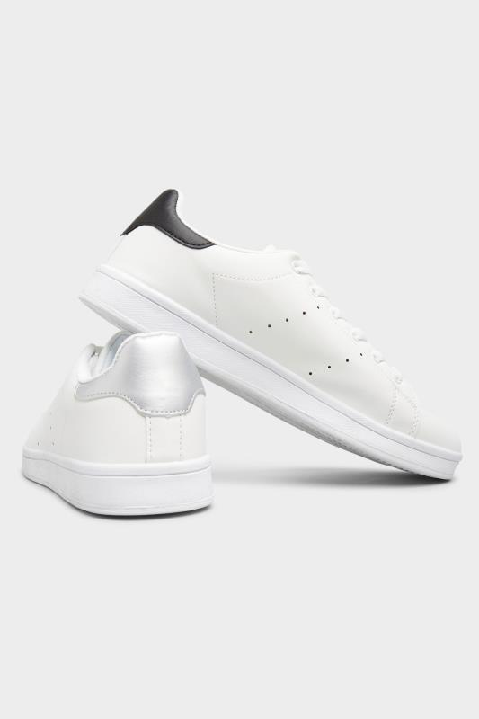 LIMITED COLLECTION White & Silver Vegan Faux Leather Trainers In Wide Fit_E.jpg
