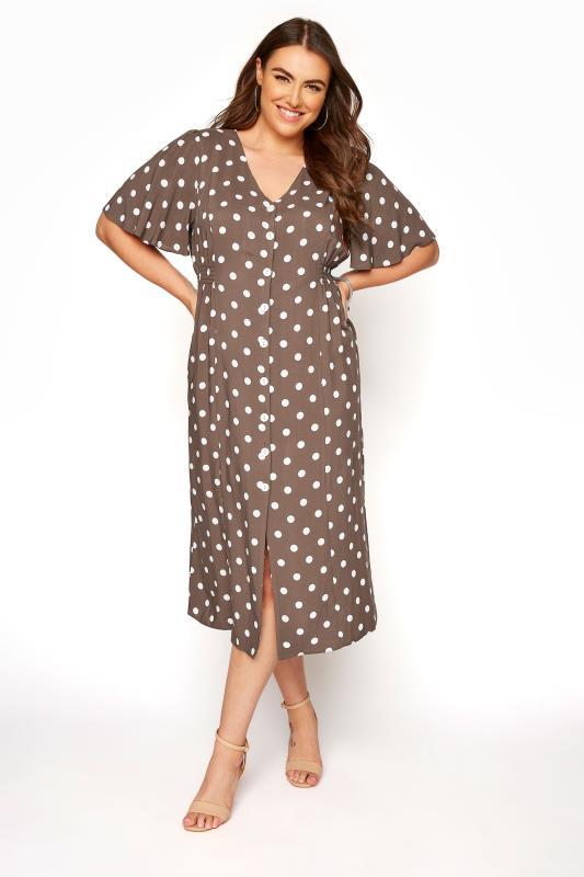 Plus Size  YOURS LONDON Brown Polka Dot Button Through Midi Dress