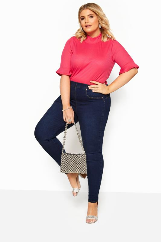 Plus Size Shaper Jeans Indigo Blue Pull On Bum Shaper LOLA Jeggings