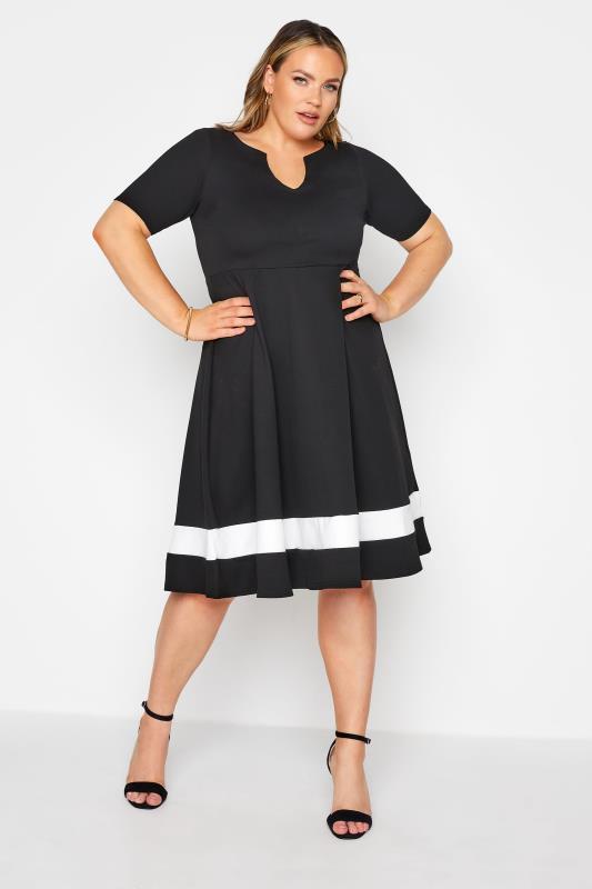 YOURS LONDON Black Notch Neck Skater Dress