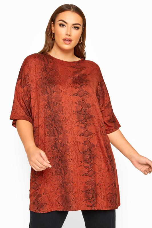 Plus Size Day Tops LIMITED COLLECTION Rust Snake Print Oversized Top