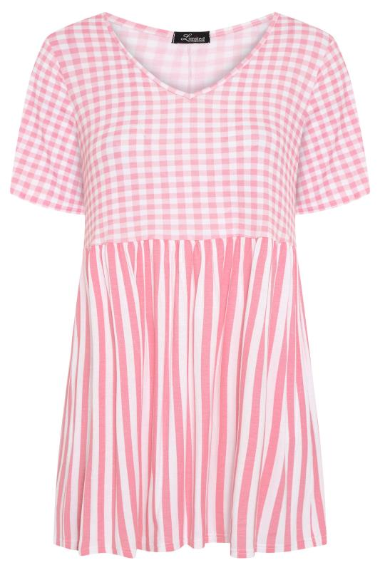 LIMITED COLLECTION Blush Pink Gingham Stripe Mix Top_F.jpg