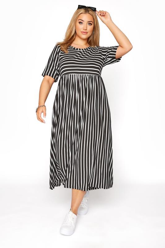 Plus Size  Black Stripe Midi Dress