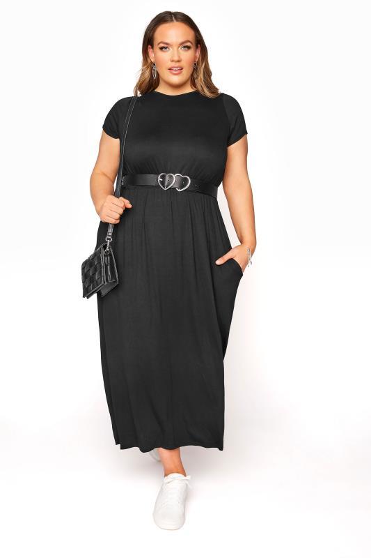 YOURS LONDON - Maxi-jurk met zakken in zwart