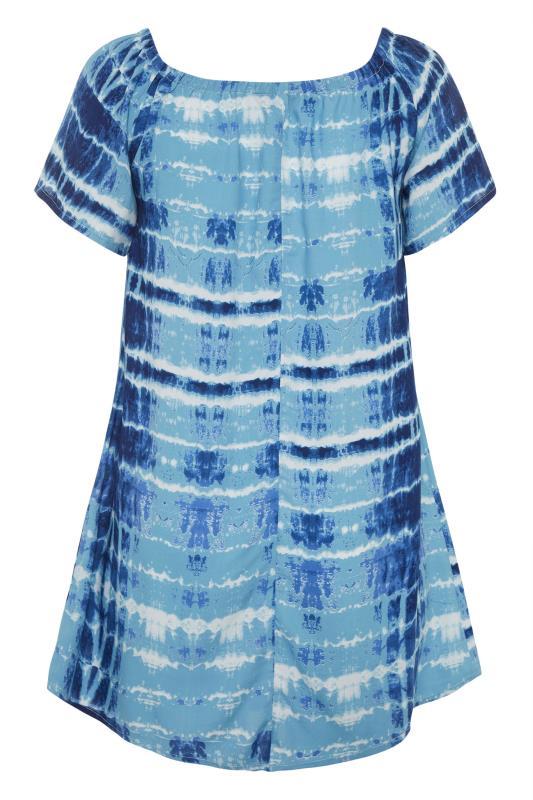 Blue Tie Dye Gathered Gypsy Tunic_BK.jpg