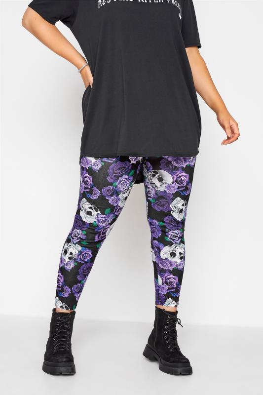 Plus Size  Black Skull & Rose Halloween Leggings