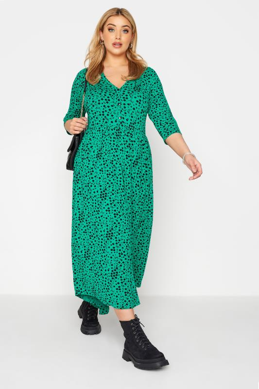 LIMITED COLLECTION Green Floral Button Midaxi Dress_B.jpg
