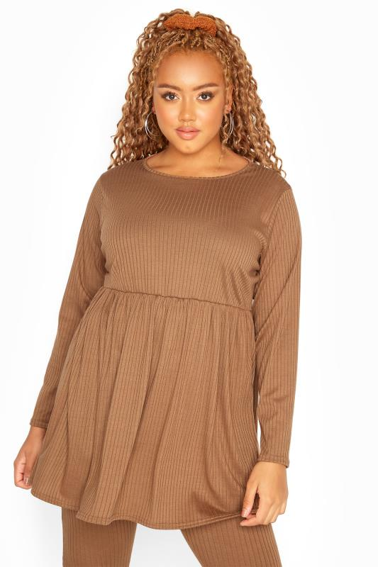Plus Size  Camel Ribbed Peplum Co-ord Lounge Top