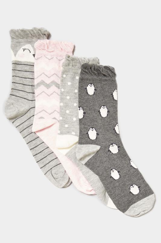 4 PACK Grey Penguin Socks