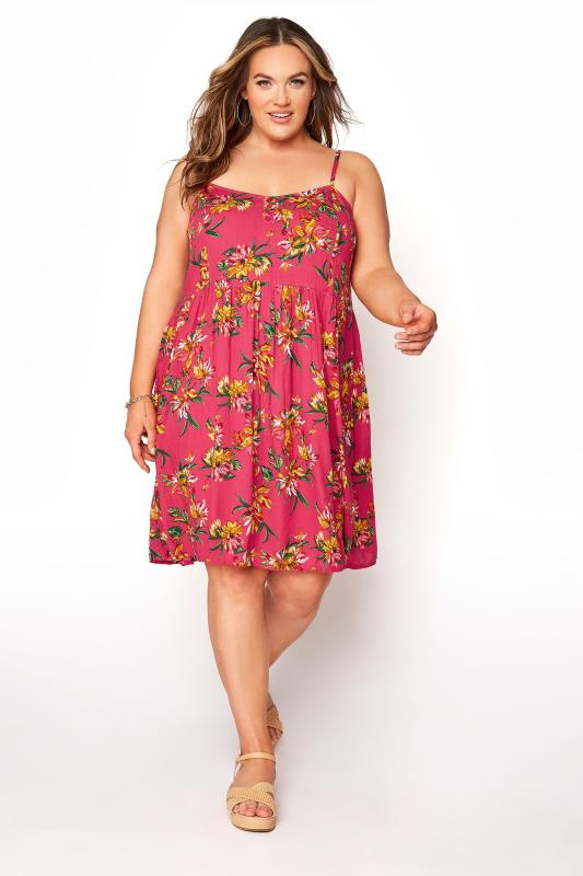Pink Floral Strappy Crinkle Dress