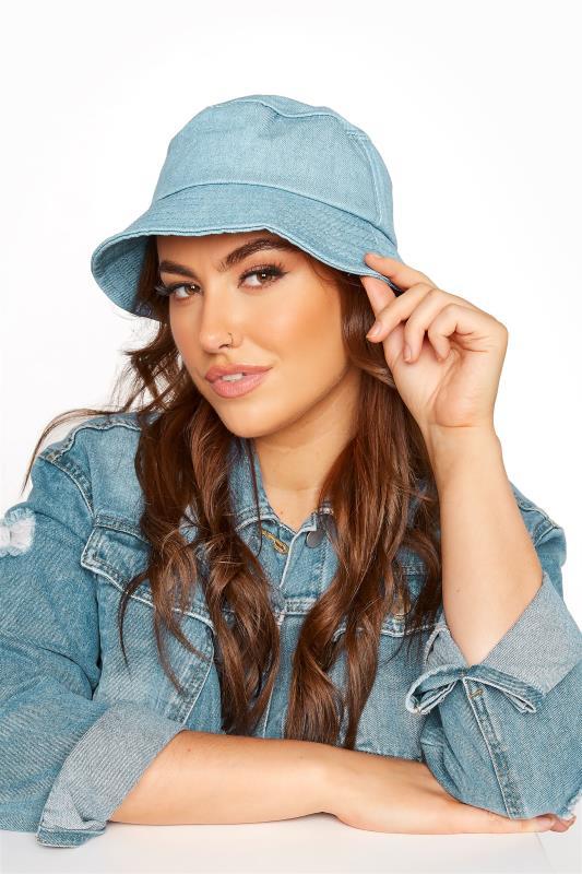 Plus Size  Blue Denim Bucket Hat