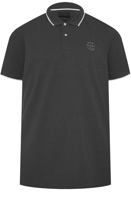 Plus Size Polo Shirts BLEND Charcoal Grey Polo Shirt