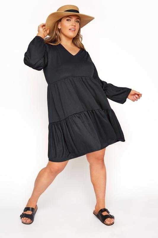 LIMITED COLLECTION Black Tiered Smock Long Sleeve Dress_B.jpg