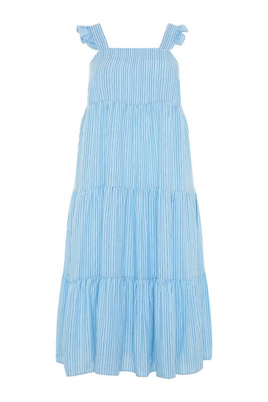 YOURS LONDON Blue Stripe Frill Tiered Midi Dress_F.jpg
