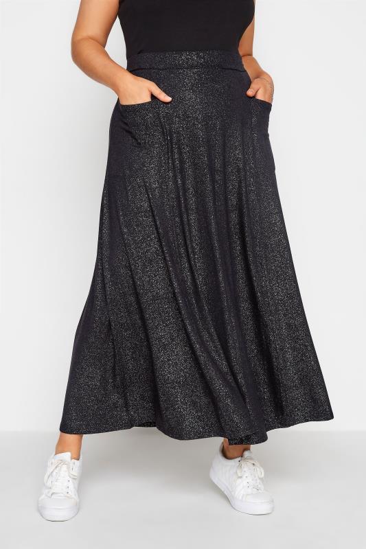 Plus Size  Black Foil Print Skirt