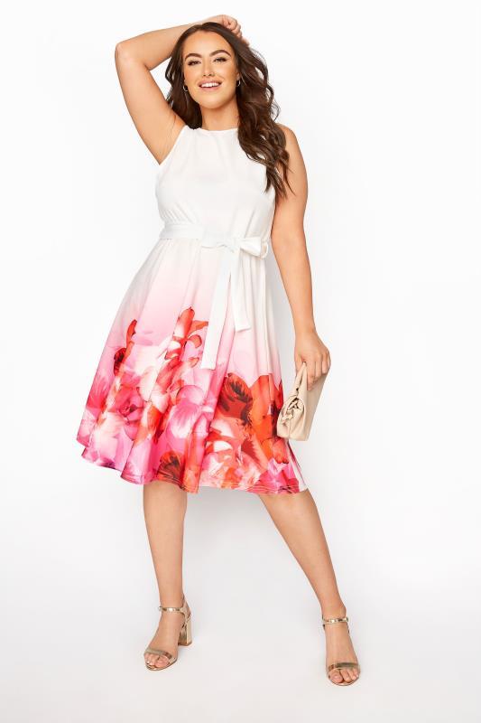 YOURS LONDON Pink Border Floral Skater Dress_B.jpg
