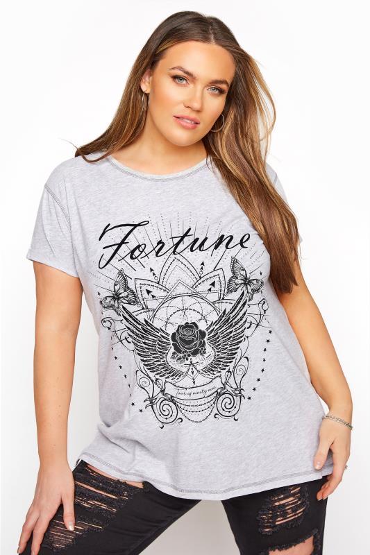 Plus Size  Grey Fortune Print T-Shirt