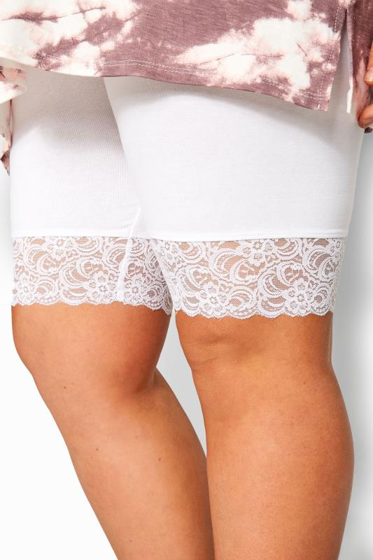 White Lace Trim Cycling  Shorts