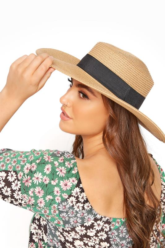Plus Size  Natural Straw Wide Brim Boater Hat