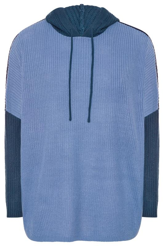 Dusty Blue Colour Block Oversized Knitted Hoodie_F.jpg