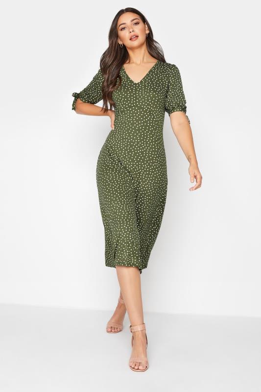 LTS Green Polka Dot Tie Sleeve Midi Dress