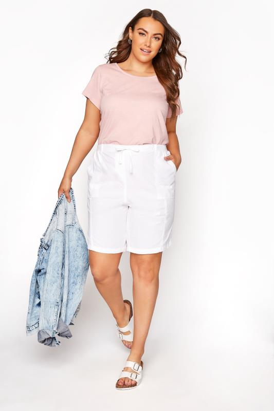 White Cool Cotton Pull On Shorts_B.jpg