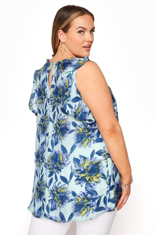 Blue Floral Frill Sleeve Top_C.jpg