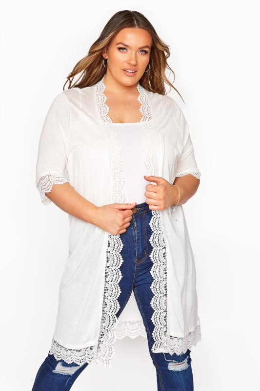 Plus Size  White Lace Trim Cardigan